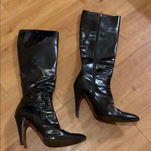 Prada leather tall boots heels shoes 38 /8